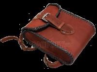 Набедренная кожаная сумка в оплётке кожаным шнуром